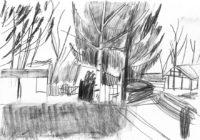 Gärten-Kleingarten-mit-Birken-Bleistift-auf-Papier-105-x-148-cm-2012