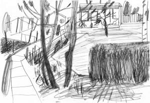 Gärten-Kleingarten-mit-Steinplattenweg-Bleistift-auf-Papier-105-x-148-cm-2012