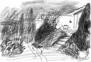 Gärten-Staudengarten-mit-Terrasse-Bleistift-auf-Papier-105-x-148-cm-2012