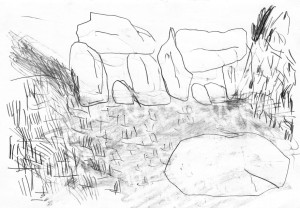 Planet-Horse-Views-in-Europe-Rocks-3-Bleistift-auf-Papier-105-x-148-cm-2012