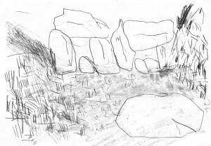 Planet-Horse-Views-in-Europe-Rocks-3-Bleistift-auf-Papier-105-x-148-cm-2012