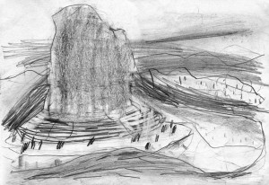 Planet-Horse-Views-in-the-Rocky-Mountains-The-Red-Rock-Bleistift-auf-Papier-105-x-148-cm-2012