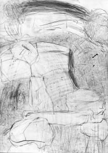 oT (Durchgang), Bleistift auf Papier, 27,5 x 19,5 cm, 2014