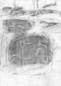 oT (Holzwurm), Bleistift auf Papier, 27,5 x 19,5 cm, 2014