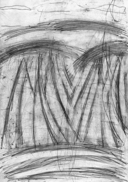 oT (Zwei Felder), Bleistift auf Papier, 27,5 x 19,5 cm, 2014